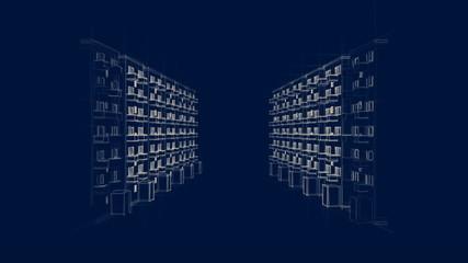 Zeichnung einer Straße mit Apartments bei Nacht (HD)