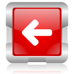 arrow left red square web glossy icon