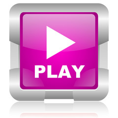 play pink square web glossy icon