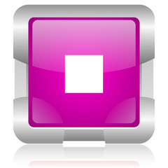 stop pink square web glossy icon