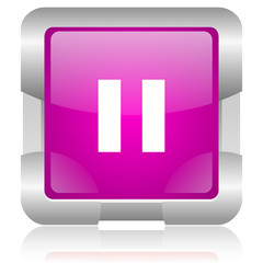 pause pink square web glossy icon