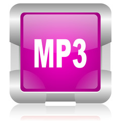 mp3 pink square web glossy icon