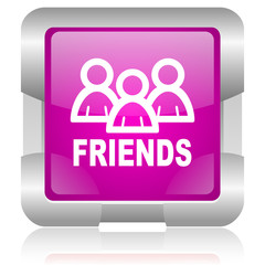 friends pink square web glossy icon