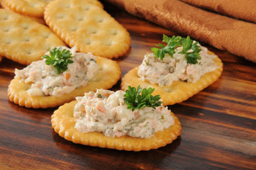 Smoked salmon spread on crackers