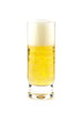 High glass full of light beer isolated over white