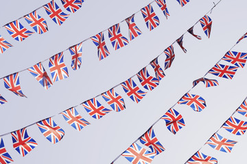 Rows of UK Union Flag Bunting