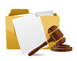 folder document papers and gavel illustration