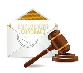 employment contract document papers and gavel