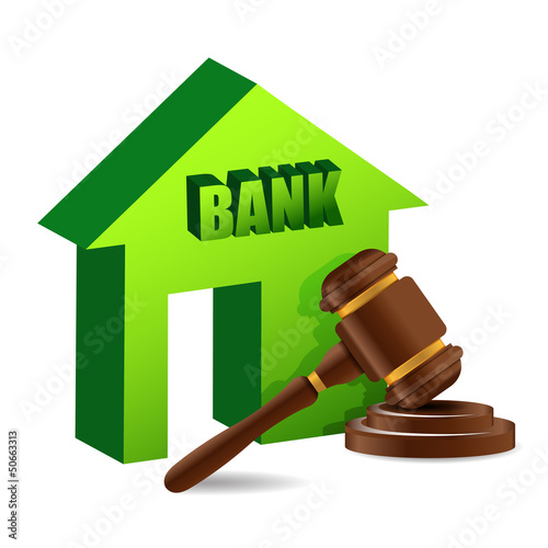 Judges gavel and bank