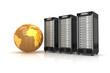 3 Webserver mit goldenem Globus