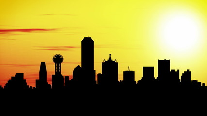 Animation of Dallas skyline city at sunset, timelapse.