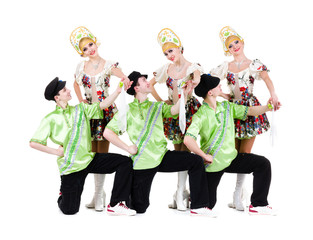 dancer team wearing a folk ukrainian costumes