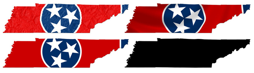 US Tennessee state flag over map collage