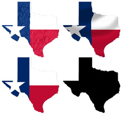 US Texas state flag over map collage