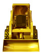 Skid steer loader made of gold, front view