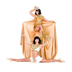 Dancing pharaoh women wearing a egyptian costume.