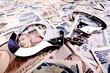 Yen Geldscheine, Währung aus Japan und Handschellen