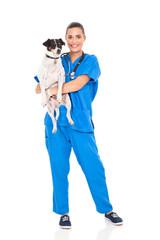 vet doctor holding pet dog