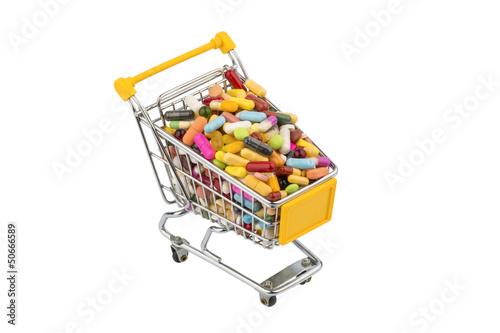 Tabletten mit Einkaufswagen
