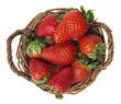 strawberries in a basket - white background