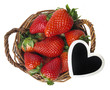 strawberries in a basket with a hearth