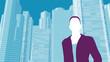 Geschäftsfrau / Wolkenkratzer Hintergrund - Illustration