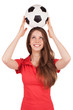 Girl holding a soccer ball on his head
