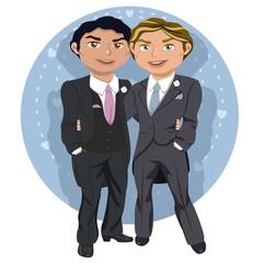 Joven pareja de boda gay
