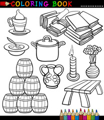 Cartoon Different Objects Coloring Page