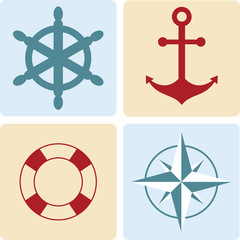maritime symbols: anchor, life buoy, the wind rose, the steering