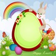 Easter greeting card with cute bunny and basket with Easter eggs