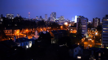 Birmingham England City Centre Skyline at Night