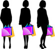 Black silhouette of young woman with shopping bags