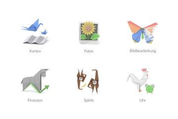 Origami Polygon Icons für Apps und Software