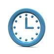 Blue clock icon, 3d