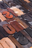 Old wooden printing type