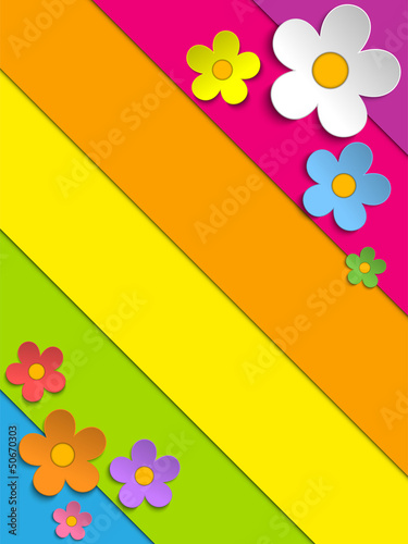 Beautiful Spring Flowers Rainbow Background