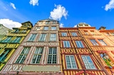 Old wooden facades in Rouen. Normandy, France.