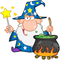 Funny Wizard Waving With Magic Wand And Preparing A Potion