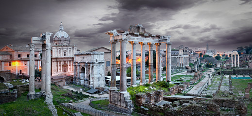 Rome Italy - Forum Romanum Panorama at night