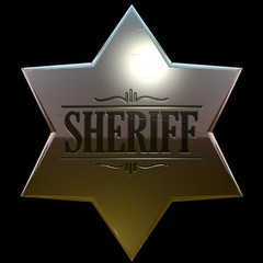 Shiny, slightly used copper or gold sheriff badge 3d
