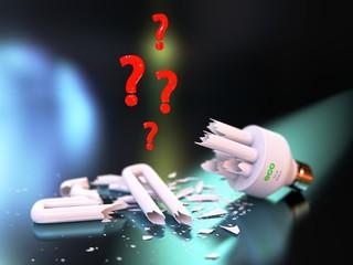 Unknown dangers of broken ECO light-bulbs