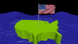 USA map with fluttering flag in abstract ocean animation