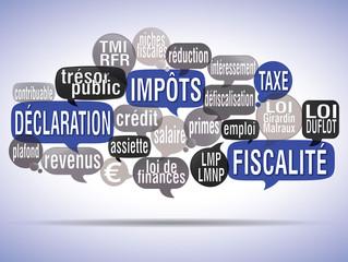 nuage de mots bulles : déclaration de revenus fond bleu