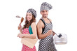 Pair of funny cooks on white