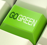 Go Green Computer Key Showing Recycling And Eco Friendliness poster