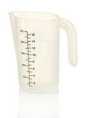 Measuring cup with water isolated on white