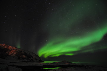 Aurora borealis and the fjord