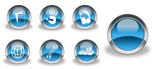 Blue and glossy icon set