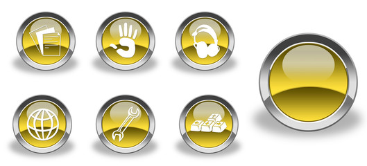 Yellow / gold and glossy icon set